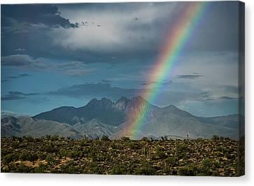 Canvas Print featuring the photograph Four Peaks Rainbow  by Saija Lehtonen