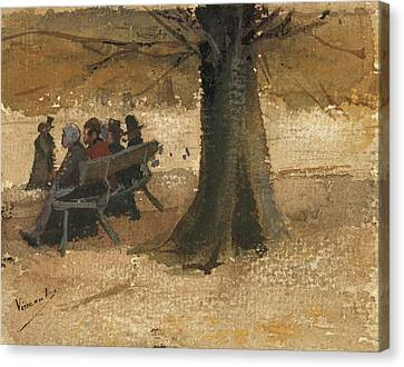 Four People On A Bench, 1882 Canvas Print by Vincent Van Gogh