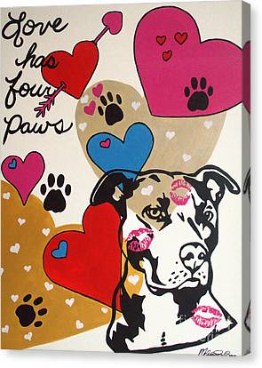 Canvas Print featuring the painting Four Pitty Paws by Melissa Goodrich