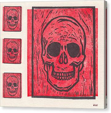 Four Red Skulls Offset Canvas Print