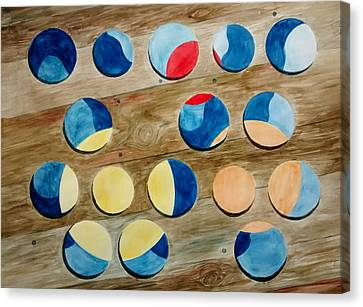 Four Rows Of Circles On Wood Canvas Print