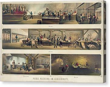 Four Scenes In A Pork Packing House Canvas Print by Everett