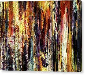 Nature Abstracts Canvas Print - Four Seasons In One Forest Abstract by Georgiana Romanovna