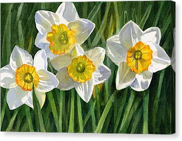 Four Small Daffodils Canvas Print