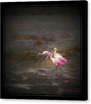Spoonbill Canvas Print - Four Spoons On The Marsh by Marvin Spates