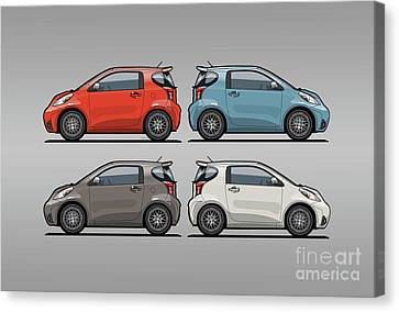 Four Toyota Scion Iq Micro Cars Canvas Print by Monkey Crisis On Mars