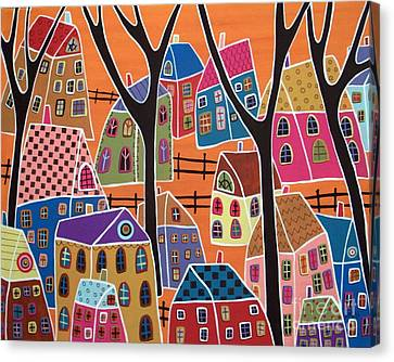 Four Trees And Houses On Orange Canvas Print by Karla Gerard