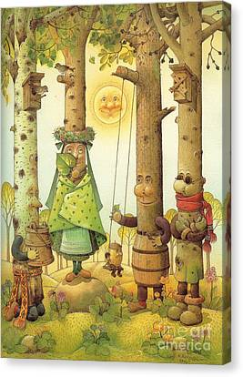 Four Trees Canvas Print by Kestutis Kasparavicius
