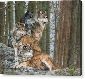 Canvas Print featuring the painting Four Wolves by David Stribbling