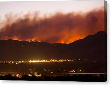 Fourmile Canyon Fire Burning Above North Boulder Canvas Print by James BO  Insogna