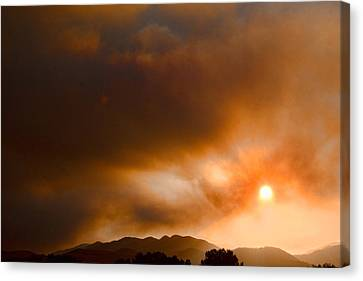 Fourmile Canyon Fire Sun Setting  Canvas Print by James BO  Insogna
