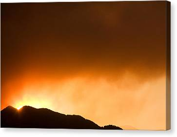 Fourmile Sunset The Night Of The Fire Boulder Canyon Canvas Print by James BO  Insogna