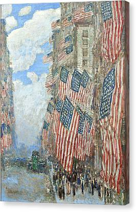 Canvas Print featuring the painting Fourth Of July, 1916 by Frederick Childe Hassam
