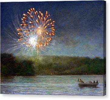Canvas Print featuring the painting Fourth Of July- Cazenovia Lake by Wayne Daniels
