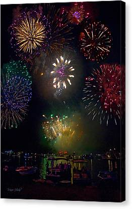Pyrotechnic Canvas Print - Fourth Of July Fireworks by Marie Hicks