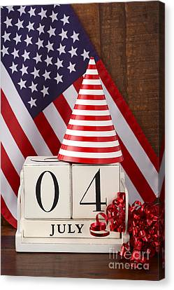 American Independance Canvas Print - Fourth Of July Vintage Wood Calendar With Flag Background.  by Milleflore Images