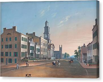 Canvas Print featuring the painting Fourth Street. West From Vine by John Caspar Wild