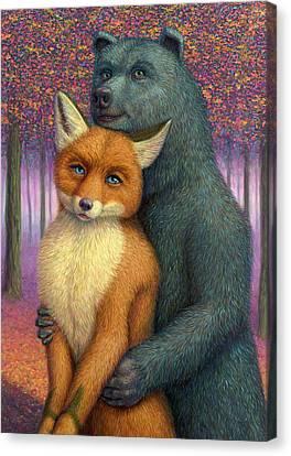 Fox And Bear Couple Canvas Print by James W Johnson