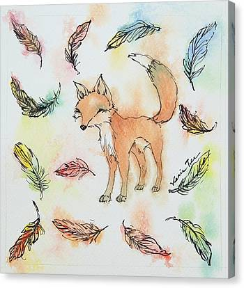 Fox And Feathers Canvas Print by Venie Tee