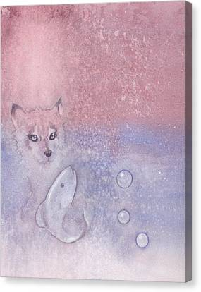 Fox And Fish Canvas Print by Christine Winters