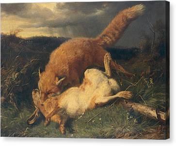 Fox And Hare Canvas Print by Johann Baptist Hofner