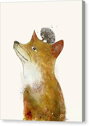 Canvas Print featuring the painting Fox And Hedgehog by Bri B