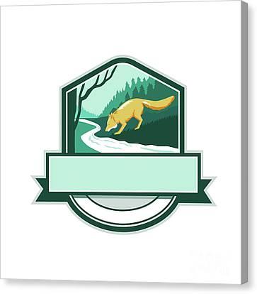 Fox Drinking River Creek Woods Crest Woodcut Canvas Print by Aloysius Patrimonio