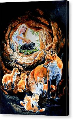 Fox Family Addition Canvas Print by Hanne Lore Koehler