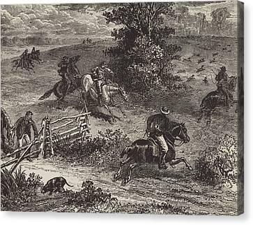Fox Hunting In Virginia Canvas Print by George Augustus Sala