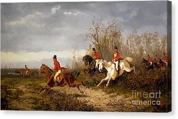 Fox Hunting Scene Canvas Print
