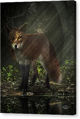 Fox In The Deep Forest Canvas Print by Daniel Eskridge