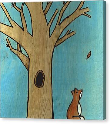 Fox In The Fall Canvas Print by Jennifer Hummel