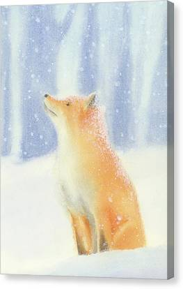 Canvas Print featuring the painting Fox In The Snow by Taylan Apukovska
