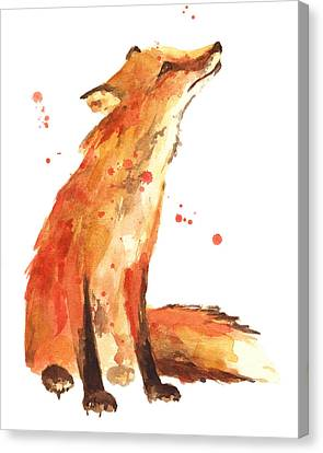 Realistic Canvas Print - Fox Painting - Print From Original by Alison Fennell