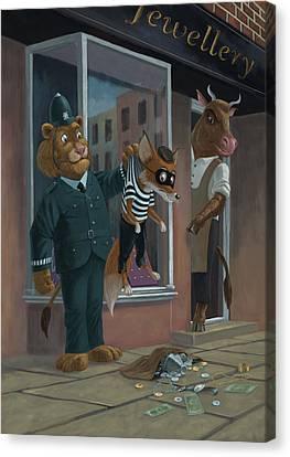 Policeman Canvas Print - Fox Robber Caught by Martin Davey