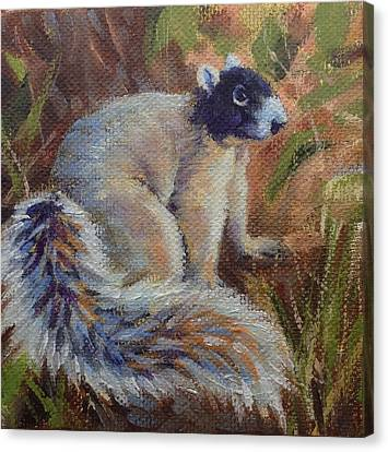 Canvas Print featuring the painting Fox Squirrel by Pam Talley