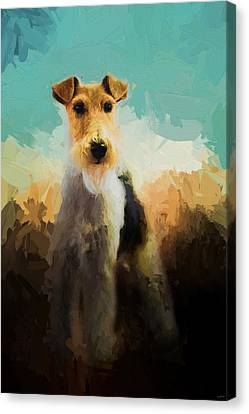 Fox Terrier Canvas Print - Fox Terrier On Alert by Jai Johnson