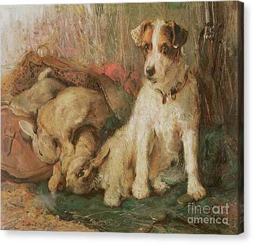 Fox Terrier With The Day's Bag Canvas Print by English School