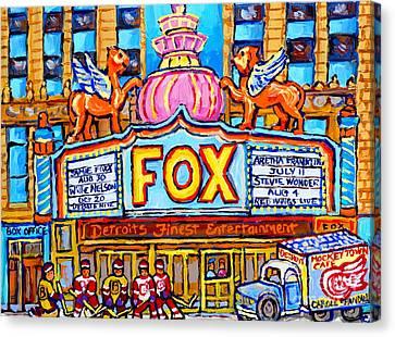 Fox Theatre Michigan Winter City Scene Painting Detroit Red Wings Usa Hockey Art Carole Spandau      Canvas Print by Carole Spandau