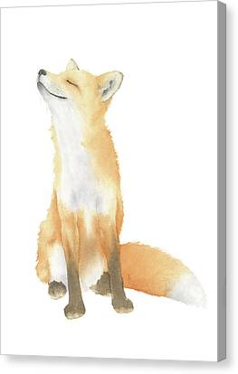 Canvas Print featuring the painting Fox Watercolor by Taylan Apukovska