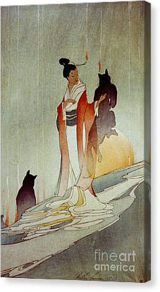 Canvas Print featuring the photograph Fox Woman 1912 by Padre Art