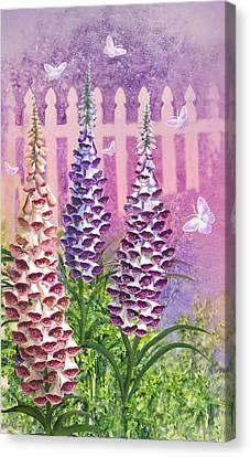 Foxgloves 'n Butterflies Canvas Print