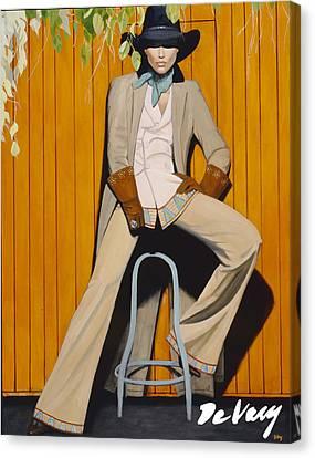 Santa Fe Cowgirl Canvas Print - Foxy Lady by David DeVary