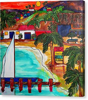 Foxy's At Jost Van Dyke Canvas Print by Patti Schermerhorn
