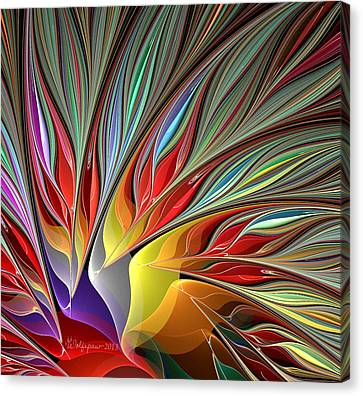 Fractal Bird Of Paradise Redux 2 Canvas Print by Peggi Wolfe
