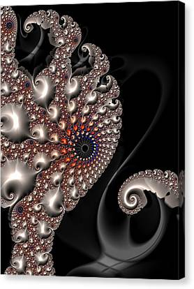 Canvas Print featuring the digital art Fractal Contact - Silver Copper Black by Matthias Hauser