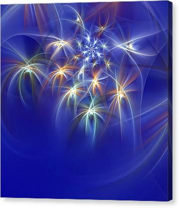 Fractal Fireworks Canvas Print by Richard Ortolano
