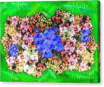 Fractal Flower Garden Canvas Print by Diamante Lavendar