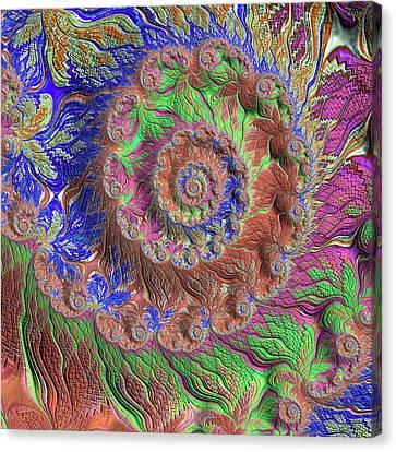 Canvas Print featuring the digital art Fractal Garden by Bonnie Bruno