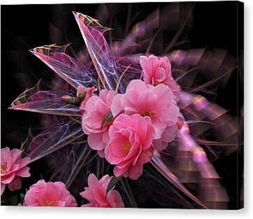 Fractal Meets Camellia  Canvas Print